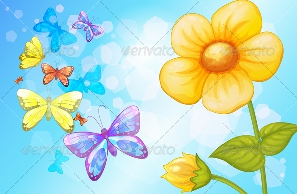 GraphicRiver Flower with Butterflies 8183205