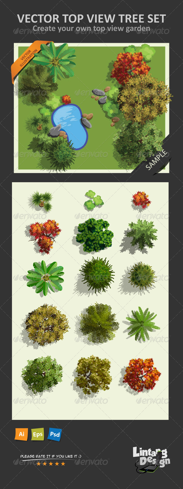 GraphicRiver Top View Tree Set 01 8158419