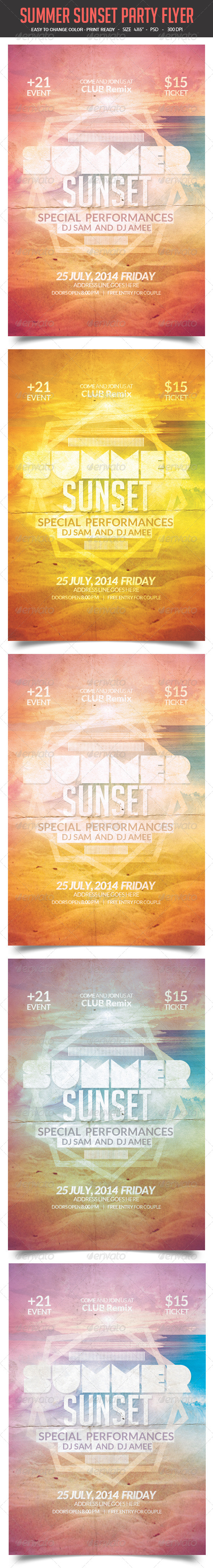GraphicRiver SUMMER SUNSET Party Flyer 8183488