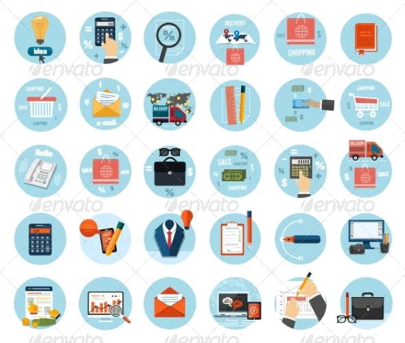GraphicRiver Set of Business Items Icons 8184119