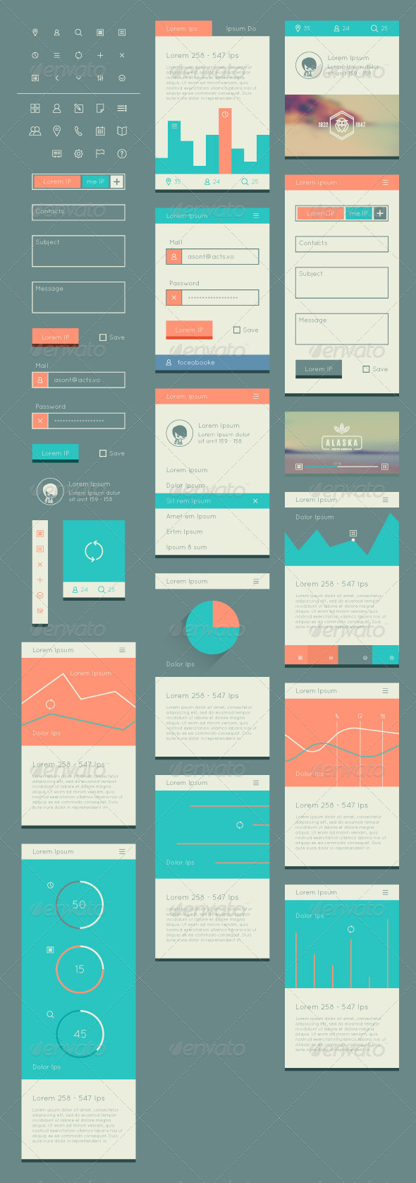 GraphicRiver Flat UI Kit for Web and Mobile 8184160