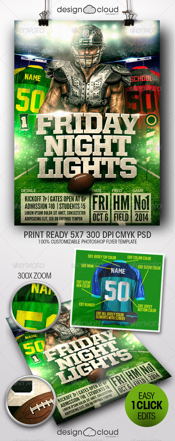 GraphicRiver Friday Night Lights Football Flyer Template 8184293