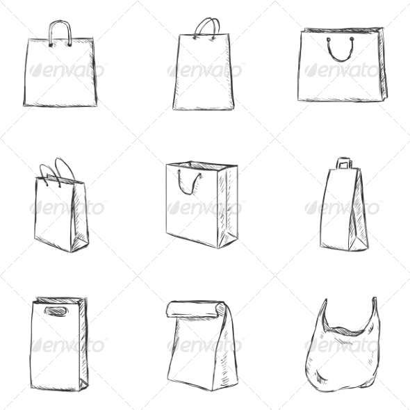 GraphicRiver Vector Set of Sketch Shopping Bags Icons 8184365