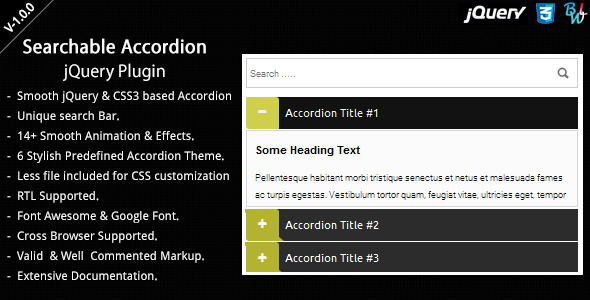CodeCanyon BWL Searchable Accordion jQuery Plugin 8184405