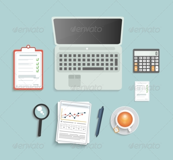 GraphicRiver Office Equipment on Table 8184453