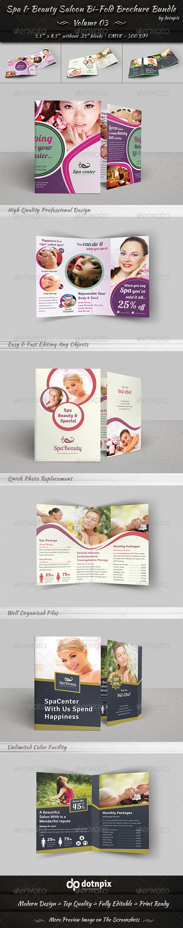 GraphicRiver Spa & Beauty Saloon Bi-Fold Brochure Bundle v3 8184478