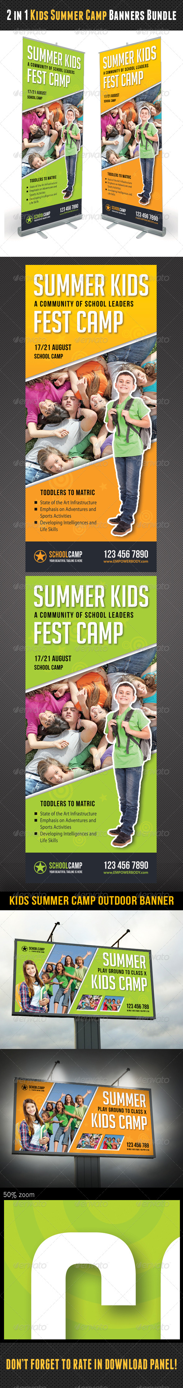 GraphicRiver 2 in 1 Kids Summer Camp Banners Bundle 8184887