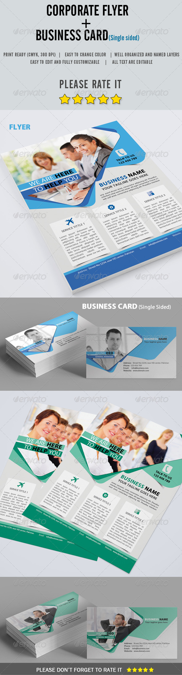 GraphicRiver Corporate Flyer & Business Card 8185151