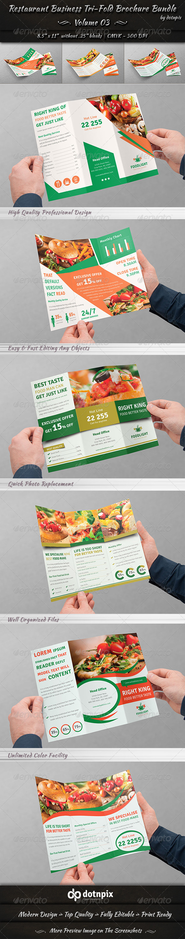 GraphicRiver Restaurant Tri-fold Brochure Bundle Volume 3 8185174