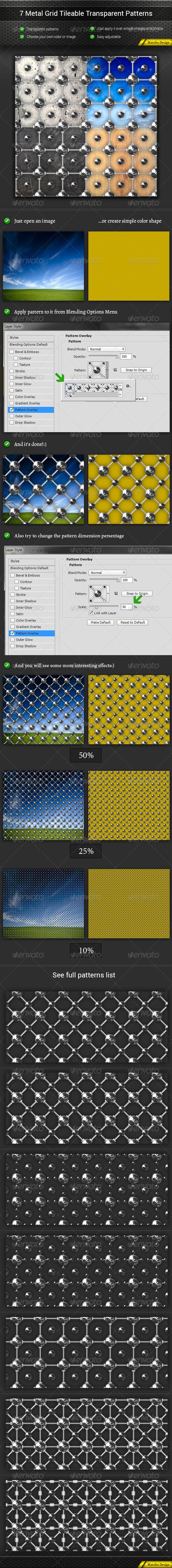 GraphicRiver 7 Metal Grid Tileable Transparent Patterns 8185755