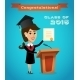 Graduate Woman Near Tribune - GraphicRiver Item for Sale