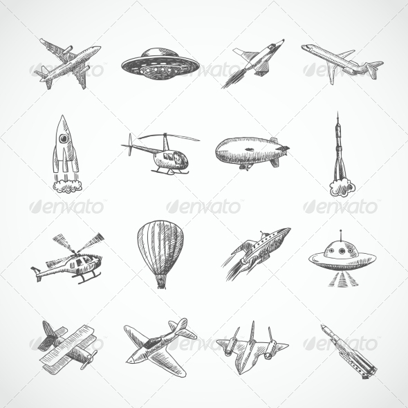 GraphicRiver Aircraft Sketch Icons 8186187