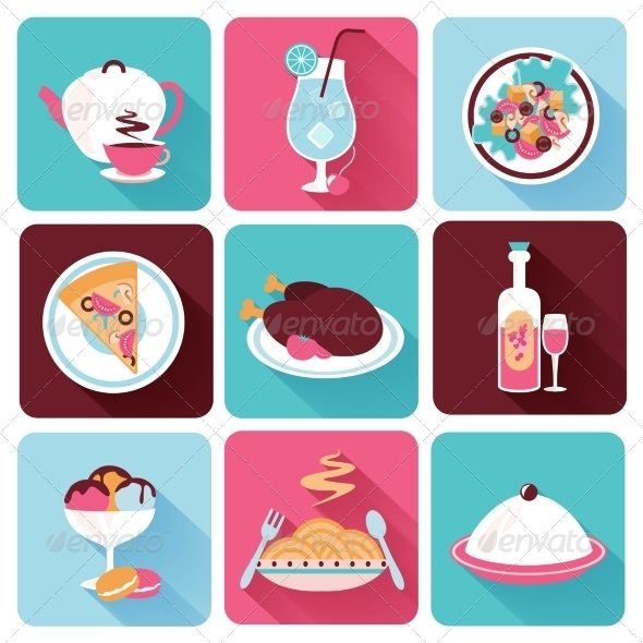 GraphicRiver Restaurant Food Icons Flat 8186213