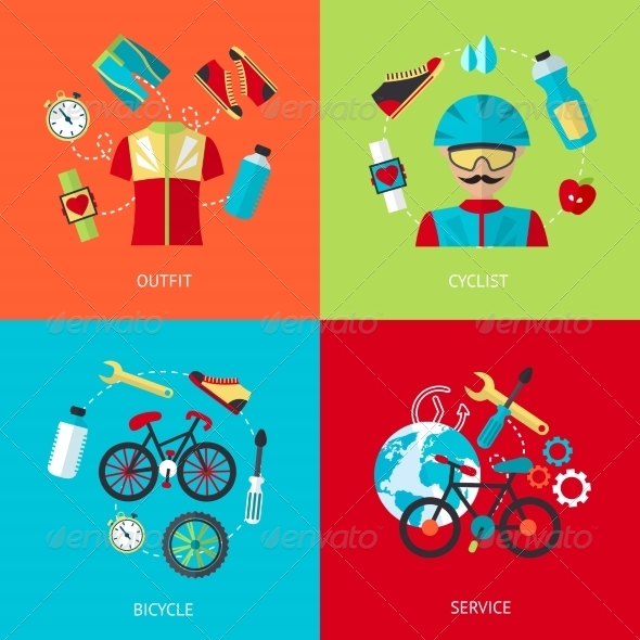 GraphicRiver Bicycle Icons Flat Set 8186227