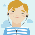 Joyful boy listening music illustration - PhotoDune Item for Sale
