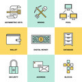 Cryptocurrency and digital money flat icons set - PhotoDune Item for Sale
