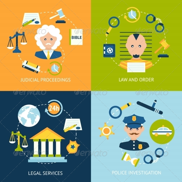 GraphicRiver Law Flat Icons Set 8186234