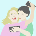 Two best friends making selfie on smartphone illustration - PhotoDune Item for Sale