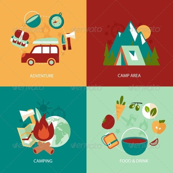 GraphicRiver Camping Flat Icons Set 8186236