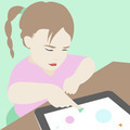 Little girl learning to use a digital tablet illustration - PhotoDune Item for Sale