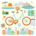 Riding a bike flat illustration - PhotoDune Item for Sale