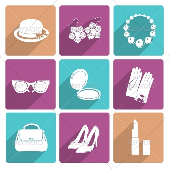GraphicRiver Woman Accessories Flat Icons Set 8186241