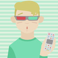 Child watching 3D movie flat illustration - PhotoDune Item for Sale