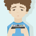 Game over boy flat illustration - PhotoDune Item for Sale