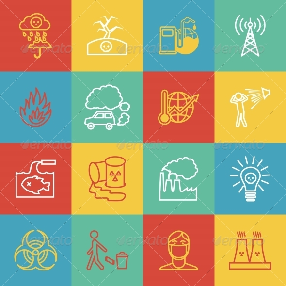 GraphicRiver Pollution Icons Set 8186298