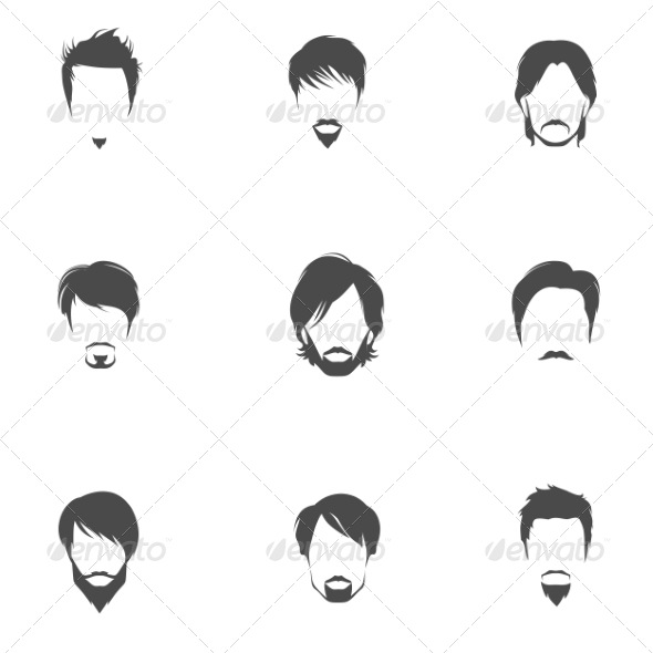 GraphicRiver Man Hair Style Set 8186357