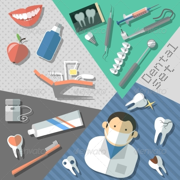 GraphicRiver Dental Stickers Set 8186442