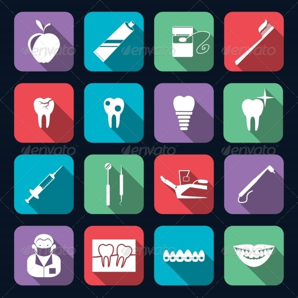 GraphicRiver Dental Icons Flat 8186444
