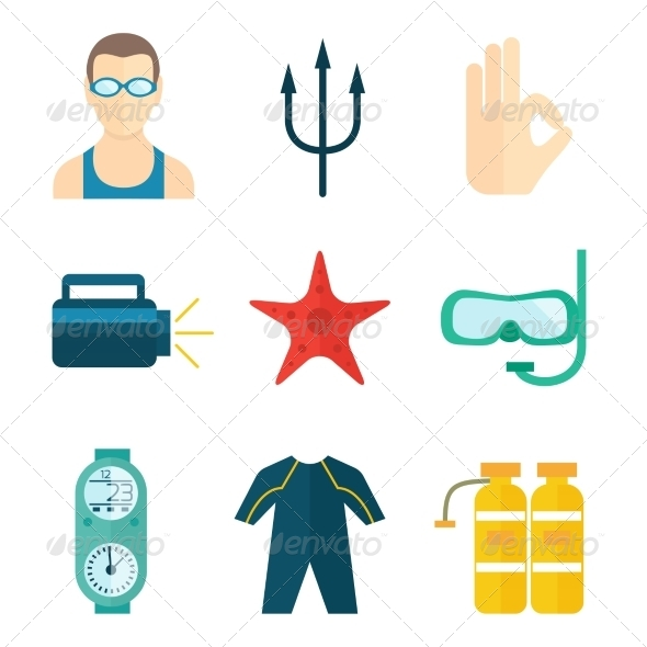 GraphicRiver Diving Icons Flat 8186498