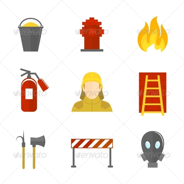 GraphicRiver Firefighting Icons Flat 8186513