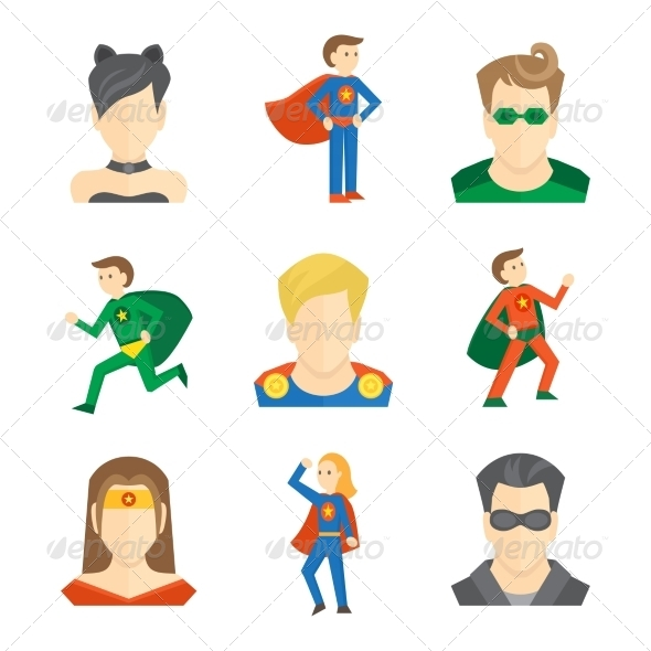 GraphicRiver Superhero Icon Flat 8186551