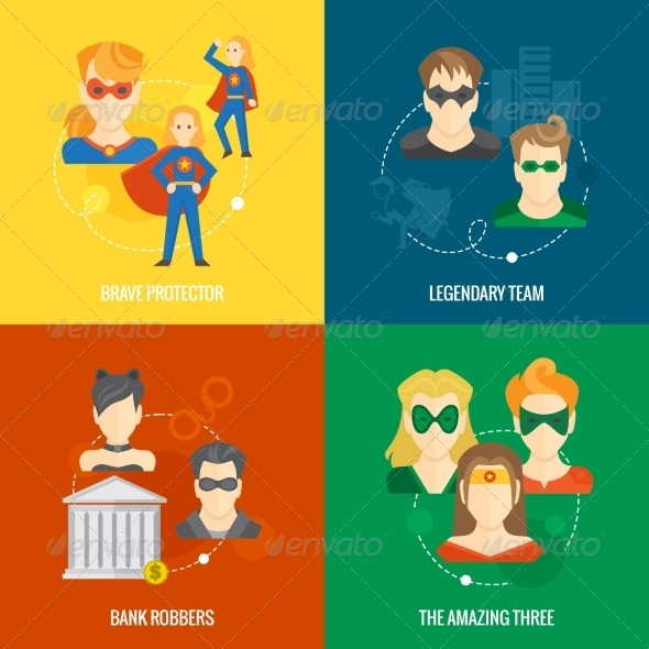 GraphicRiver Superhero Icon Flat Composition 8186563