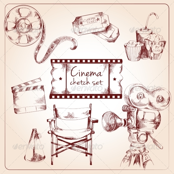 GraphicRiver Cinema Sketch Set 8186642