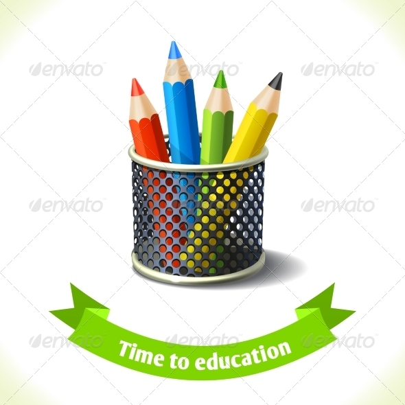 GraphicRiver Education Icon Colored Pencils 8186808