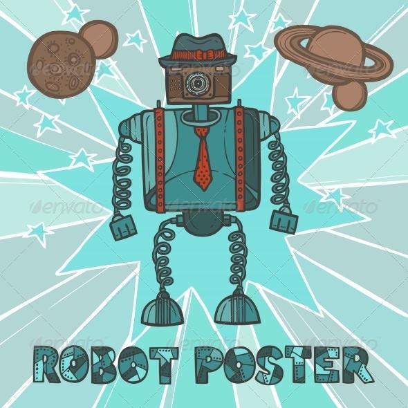 GraphicRiver Hipster Robot Design 8186885