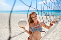 Portrait of woman with volleyball playing beach volley - PhotoDune Item for Sale