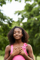 Portrait of black girl in love daydreaming and smiling - PhotoDune Item for Sale