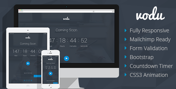 Vodu - Coming Soon Responsive Template - Under Construction Specialty Pages