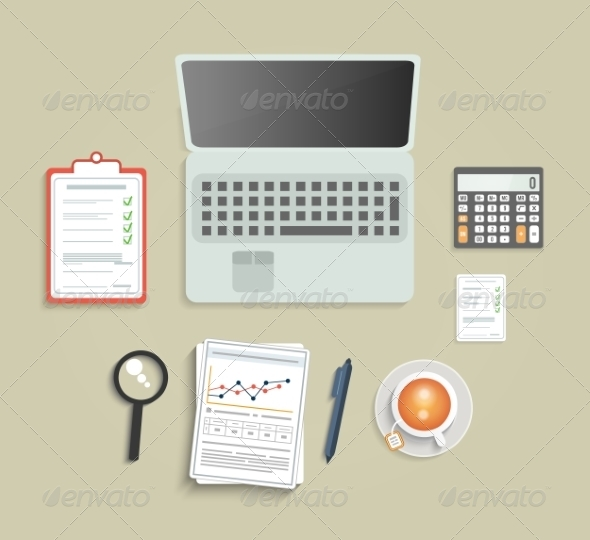 GraphicRiver Office Equipment on Table 8187549