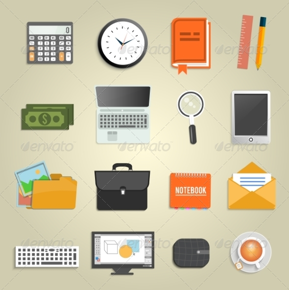 GraphicRiver Set of Various Office Equipment Icons 8187553