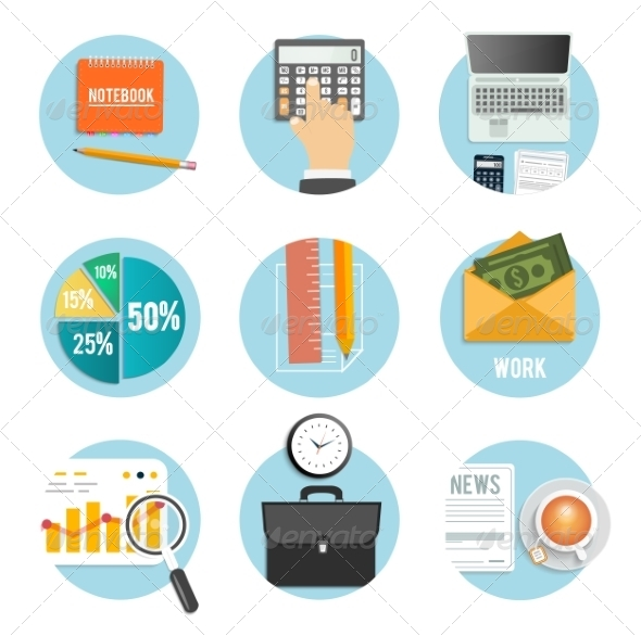 GraphicRiver Business Office and Marketing Items Icons 8187570