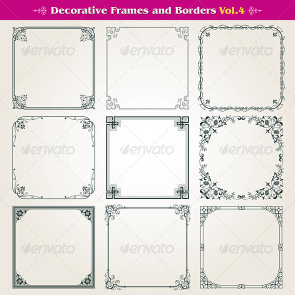 GraphicRiver Decorative Frames And Borders Set 8187572