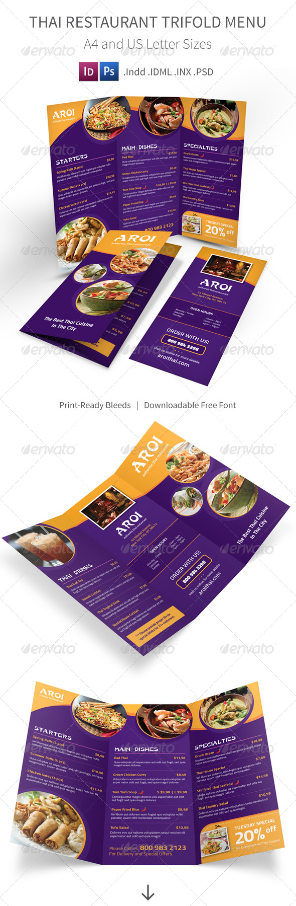 GraphicRiver Thai Restaurant Trifold Menu 8187785