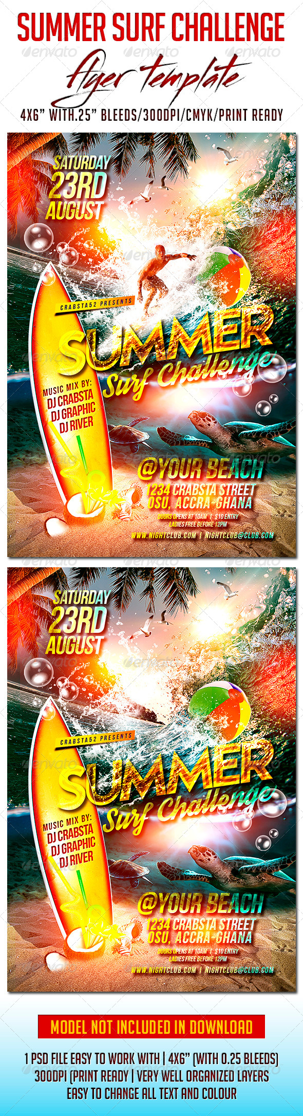 GraphicRiver Summer Surf Challenge Flyer Template 8188148