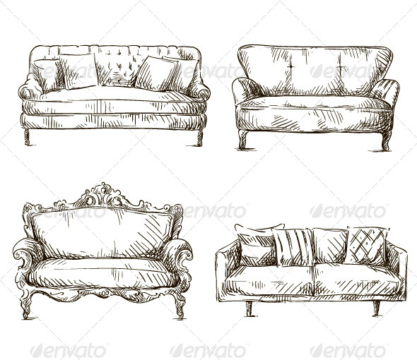 GraphicRiver Set of Sofas Drawings Sketch Style 8188220