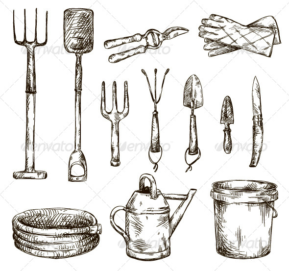 Set of Gardening Tools Drawings